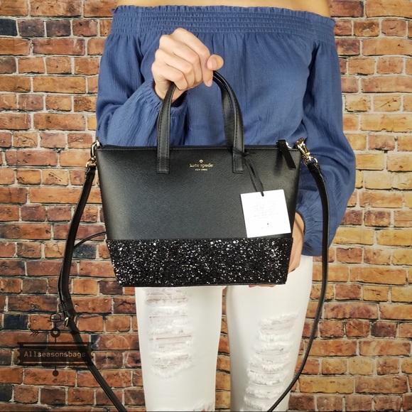 05ffd81e5df Kate spade Ina Greta court black satchel glitter NWT